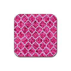 Tile1 White Marble & Pink Marble Rubber Square Coaster (4 Pack)