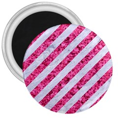 Stripes3 White Marble & Pink Marble (r) 3  Magnets