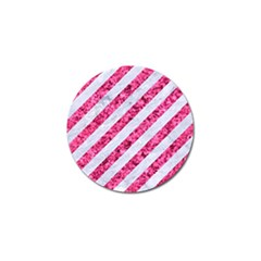 Stripes3 White Marble & Pink Marble (r) Golf Ball Marker (4 Pack)