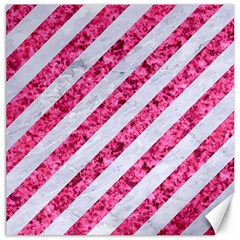 Stripes3 White Marble & Pink Marble (r) Canvas 16  X 16