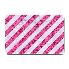 Stripes3 White Marble & Pink Marble (r) Small Doormat  by trendistuff