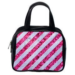 Stripes3 White Marble & Pink Marble (r) Classic Handbags (one Side)