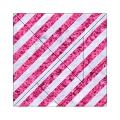 Stripes3 White Marble & Pink Marble (r) Acrylic Tangram Puzzle (6  X 6 )
