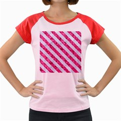Stripes3 White Marble & Pink Marble Women s Cap Sleeve T Shirt