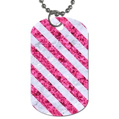 Stripes3 White Marble & Pink Marble Dog Tag (two Sides) by trendistuff