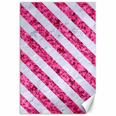 Stripes3 White Marble & Pink Marble Canvas 20  X 30