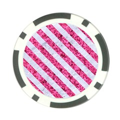 Stripes3 White Marble & Pink Marble Poker Chip Card Guard