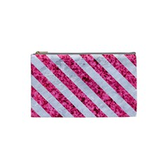 Stripes3 White Marble & Pink Marble Cosmetic Bag (small)  by trendistuff