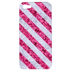 Stripes3 White Marble & Pink Marble Apple Iphone 5 Hardshell Case by trendistuff