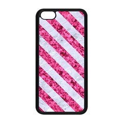 Stripes3 White Marble & Pink Marble Apple Iphone 5c Seamless Case (black)