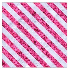 Stripes3 White Marble & Pink Marble Large Satin Scarf (square)