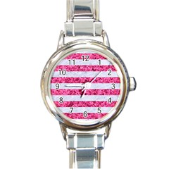 Stripes2white Marble & Pink Marble Round Italian Charm Watch