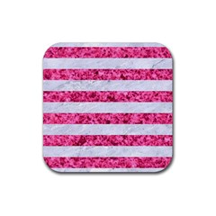 Stripes2white Marble & Pink Marble Rubber Coaster (square)