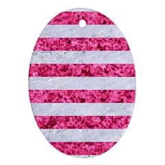 Stripes2white Marble & Pink Marble Oval Ornament (two Sides)