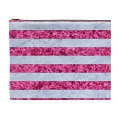 Stripes2white Marble & Pink Marble Cosmetic Bag (xl)