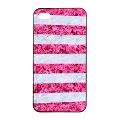 Stripes2white Marble & Pink Marble Apple Iphone 4/4s Seamless Case (black)