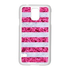 Stripes2white Marble & Pink Marble Samsung Galaxy S5 Case (white)