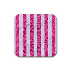 Stripes1 White Marble & Pink Marble Rubber Coaster (square)