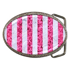 Stripes1 White Marble & Pink Marble Belt Buckles