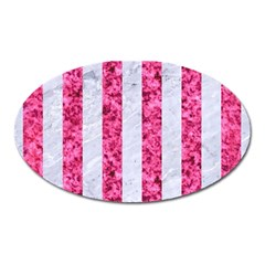 Stripes1 White Marble & Pink Marble Oval Magnet