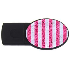 Stripes1 White Marble & Pink Marble Usb Flash Drive Oval (4 Gb) by trendistuff