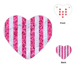 Stripes1 White Marble & Pink Marble Playing Cards (heart)  by trendistuff