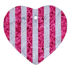 Stripes1 White Marble & Pink Marble Heart Ornament (two Sides) by trendistuff