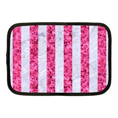 Stripes1 White Marble & Pink Marble Netbook Case (medium)