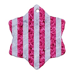 Stripes1 White Marble & Pink Marble Ornament (snowflake)