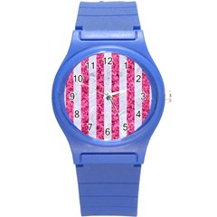 Stripes1 White Marble & Pink Marble Round Plastic Sport Watch (s) by trendistuff