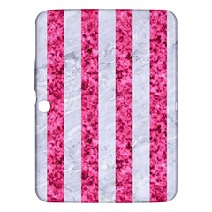 Stripes1 White Marble & Pink Marble Samsung Galaxy Tab 3 (10 1 ) P5200 Hardshell Case  by trendistuff