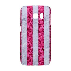 Stripes1 White Marble & Pink Marble Galaxy S6 Edge by trendistuff