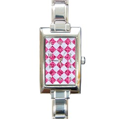 Square2 White Marble & Pink Marble Rectangle Italian Charm Watch