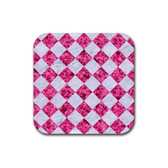 Square2 White Marble & Pink Marble Rubber Coaster (square)