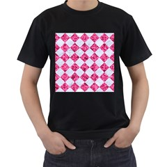 Square2 White Marble & Pink Marble Men s T Shirt (black) (two Sided)