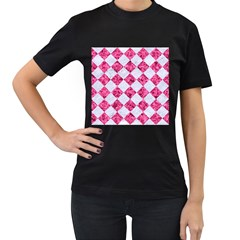 Square2 White Marble & Pink Marble Women s T Shirt (black) (two Sided)