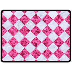 Square2 White Marble & Pink Marble Fleece Blanket (large)