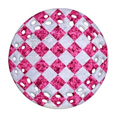 Square2 White Marble & Pink Marble Round Filigree Ornament (two Sides)