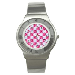 Square1 White Marble & Pink Marble Stainless Steel Watch
