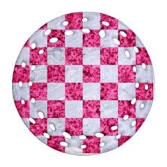 Square1 White Marble & Pink Marble Ornament (round Filigree)
