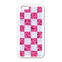 Square1 White Marble & Pink Marble Apple Iphone 6/6s White Enamel Case