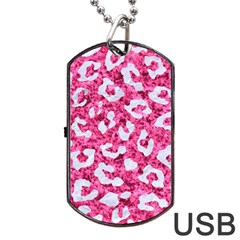 Skin5 White Marble & Pink Marble (r) Dog Tag Usb Flash (one Side)