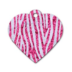 Skin4 White Marble & Pink Marble (r) Dog Tag Heart (two Sides)