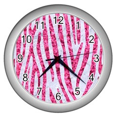 Skin4 White Marble & Pink Marble Wall Clocks (silver)  by trendistuff