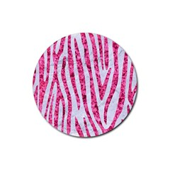 Skin4 White Marble & Pink Marble Rubber Round Coaster (4 Pack)