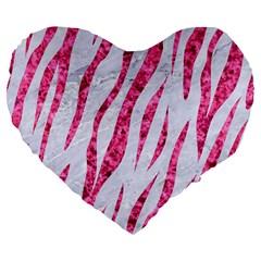 Skin3 White Marble & Pink Marble (r) Large 19  Premium Flano Heart Shape Cushions