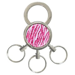 Skin3 White Marble & Pink Marble 3 Ring Key Chains