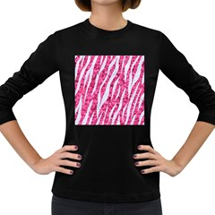 Skin3 White Marble & Pink Marble Women s Long Sleeve Dark T Shirts