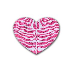 Skin2 White Marble & Pink Marble Rubber Coaster (heart)  by trendistuff
