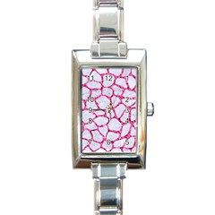 Skin1 White Marble & Pink Marble Rectangle Italian Charm Watch
